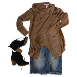 CLEO Asymmetrical Cardigan Sweater | Camel | Small